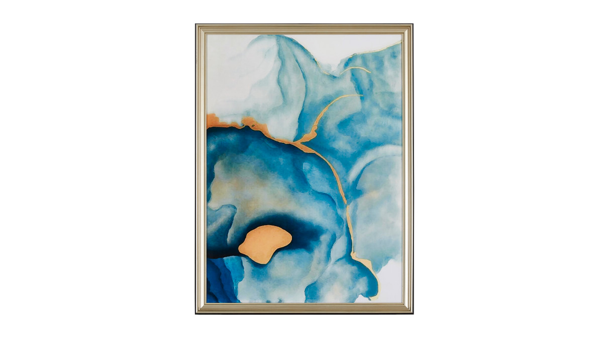 """Abstract Watercolors in Crystal Porcelain Solid Wood Frame Wall Art, 24"""" x 32"""""""