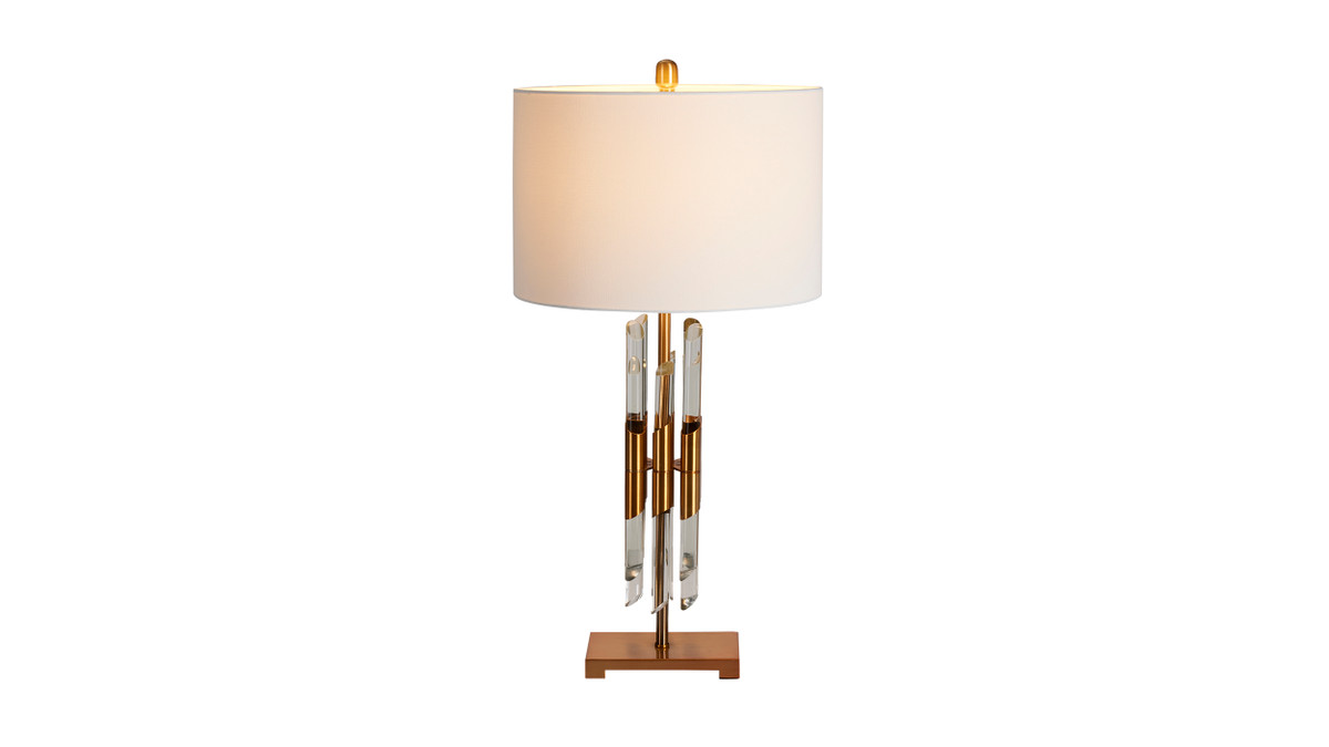 """15"""" Caen Modern Fluted Crystal Accent Table Lamp"""