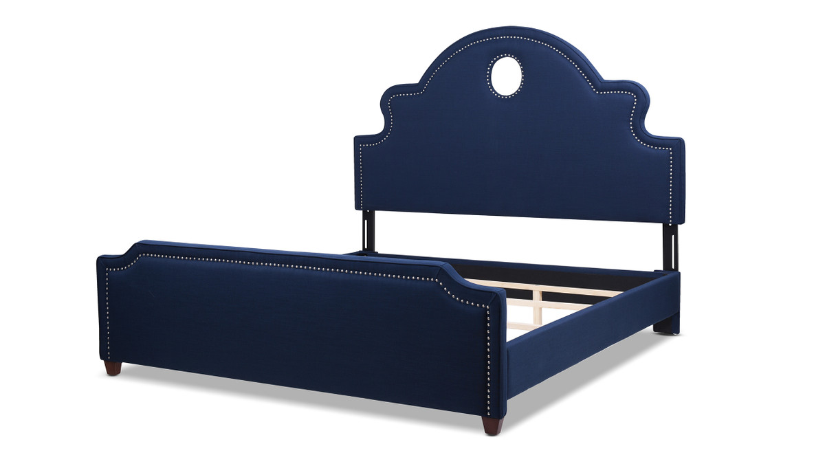 Flora Tall Keyhole Panel Headboard Bed, King, Midnight Blue