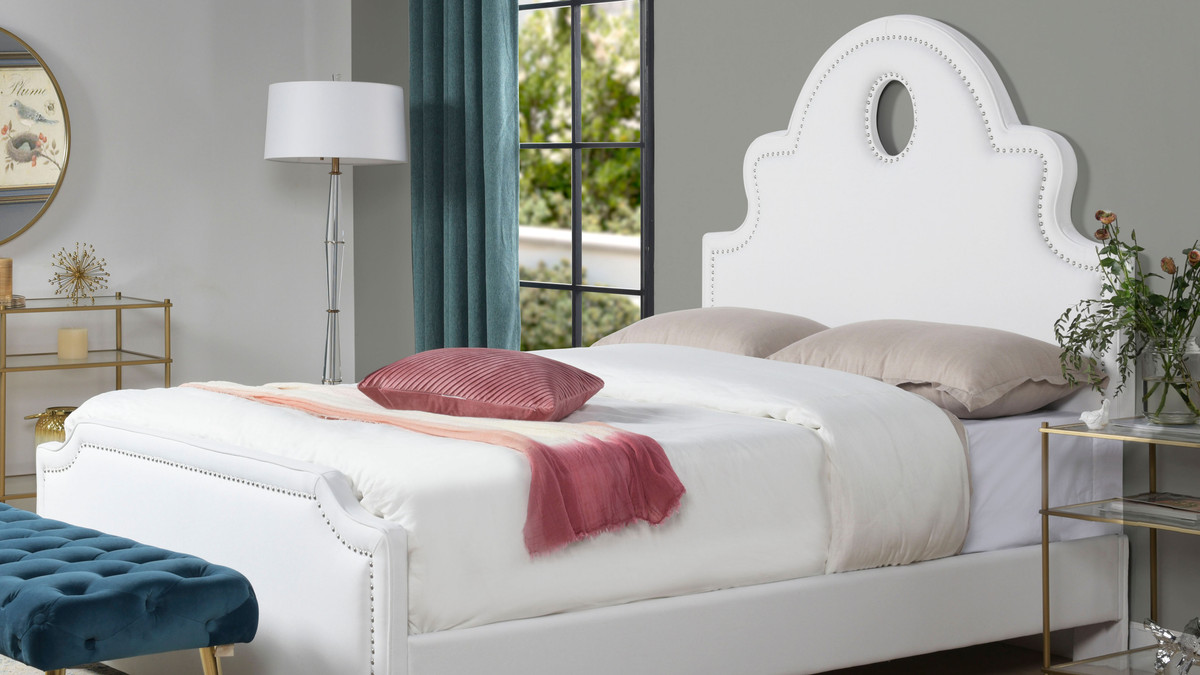 Flora Tall Keyhole Arch Panel Headboard Bed Queen Bright White Jennifer Taylor Home