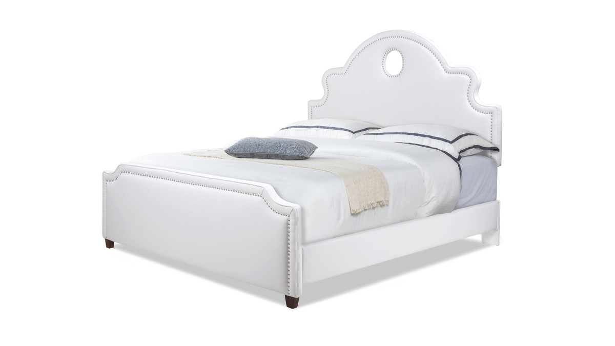 Flora Tall Keyhole Arch Panel Headboard Bed, King, Bright White