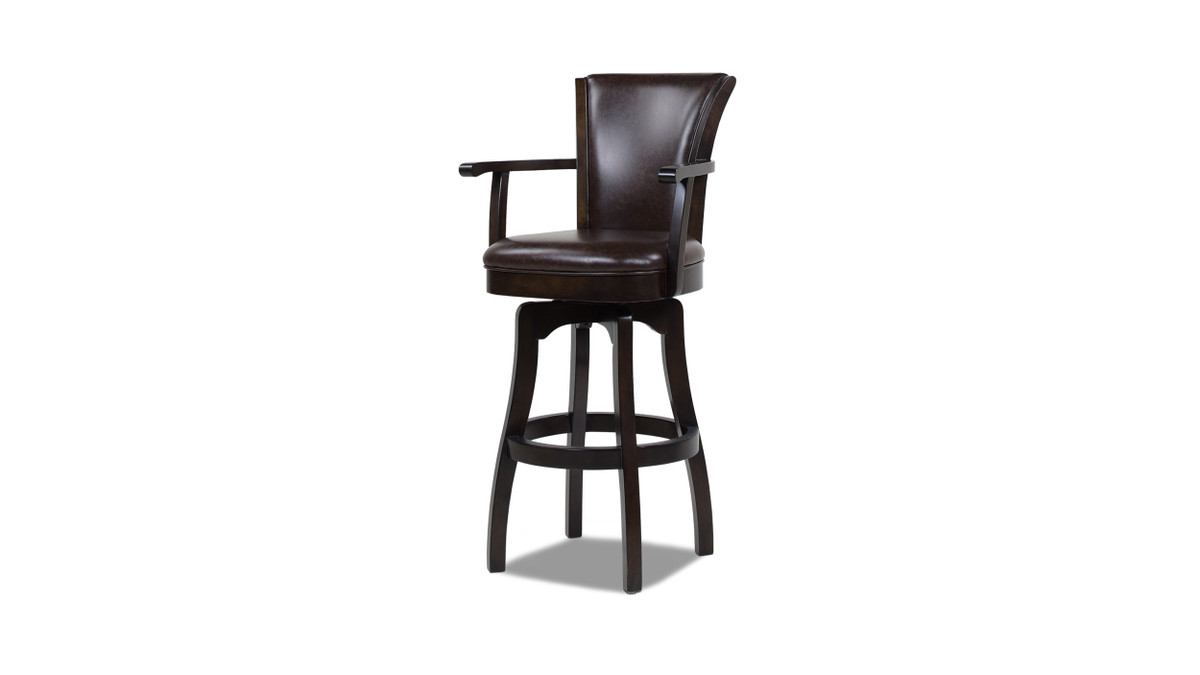 "Williams 31"" Swivel Bar Stool with Armrests, Vintage Brown Faux Leather"