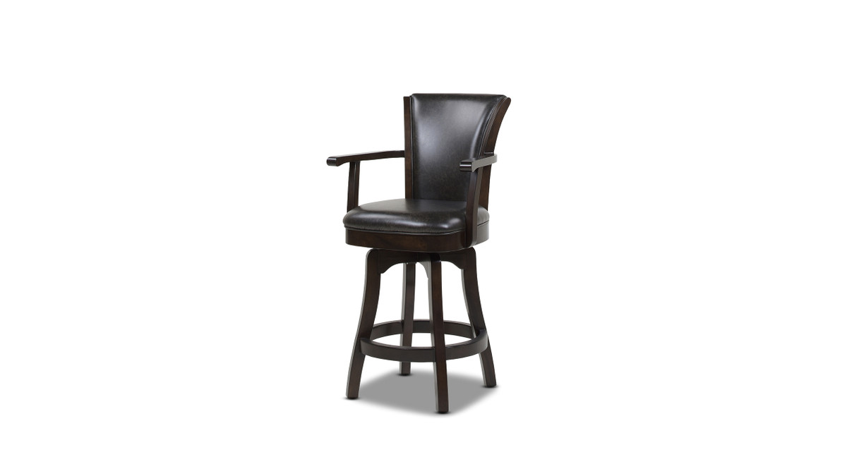 """Williams 26"""" Swivel Counter Height Bar Stool, Vintage Black Brown Faux Leather"""