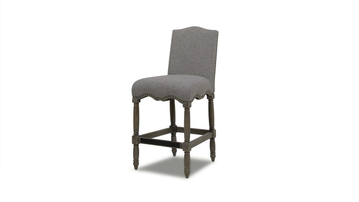 "Odette 26"" Farmhouse Upholstered Counter Height Bar Stool, Dark Heathered Grey Linen"