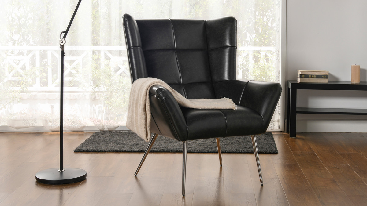 Gerald Mid Century Modern Tufted Wingback Armchair Vintage Black Brown Faux Leather Jennifer Taylor Home