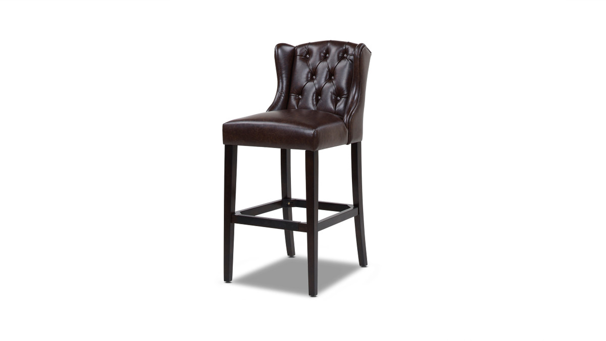 "Richmond 30"" Armless Wingback Tufted Counter Height Bar Stool, Vintage Brown Faux Leather"