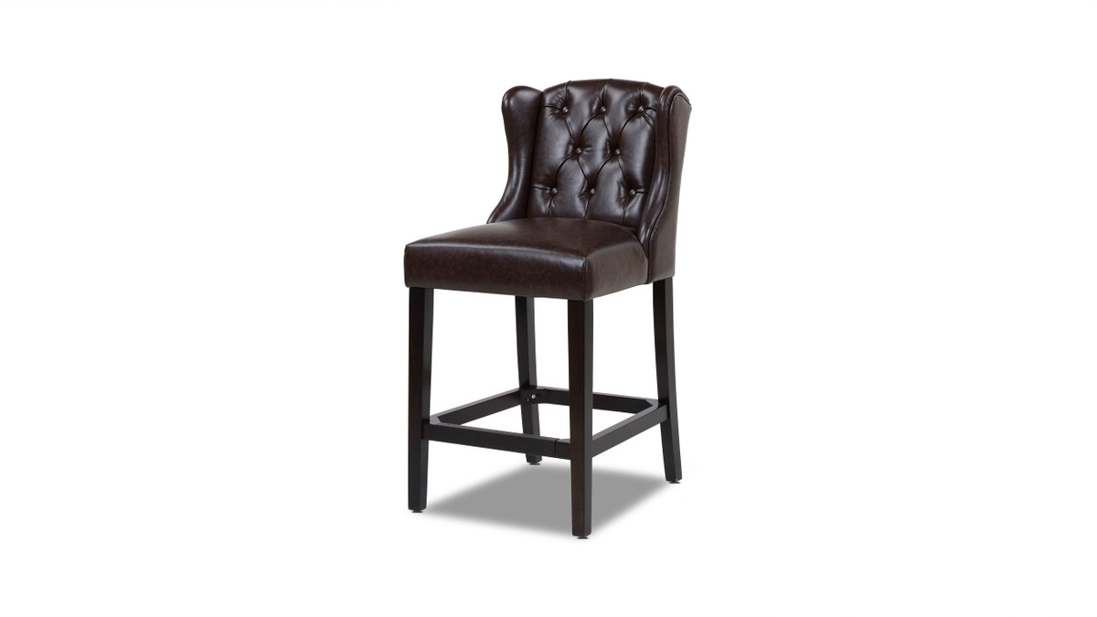 "Richmond 26"" Armless Wingback Tufted Counter Height Bar Stool, Vintage Brown Faux Leather"