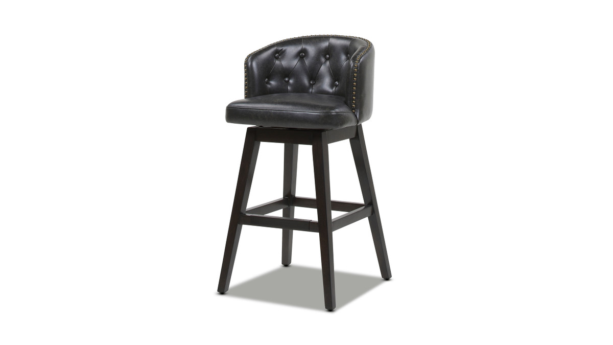 "Davidson 30"" Swivel Low Back Bar Stool, Vintage Black Brown Faux Leather"