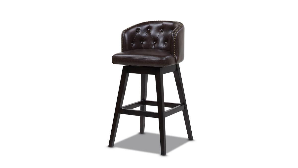"Davidson 30"" Swivel Low Back Bar Stool, Vintage Brown Faux Leather"