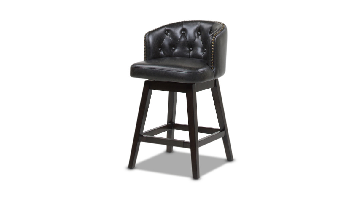 """Davidson 26"""" Swivel Low Back Counter Height Bar Stool, Vintage Black Brown Faux Leather"""