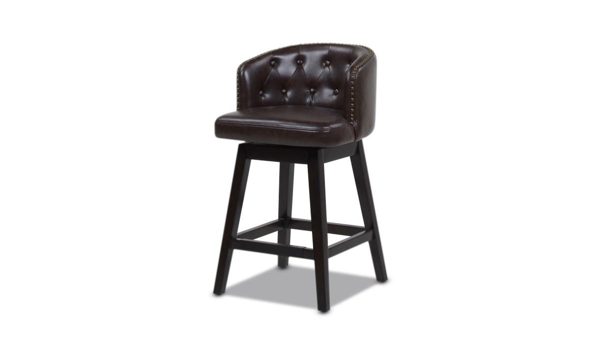 """Davidson 26"""" Swivel Low Back Counter Height Bar Stool, Vintage Brown Faux Leather"""