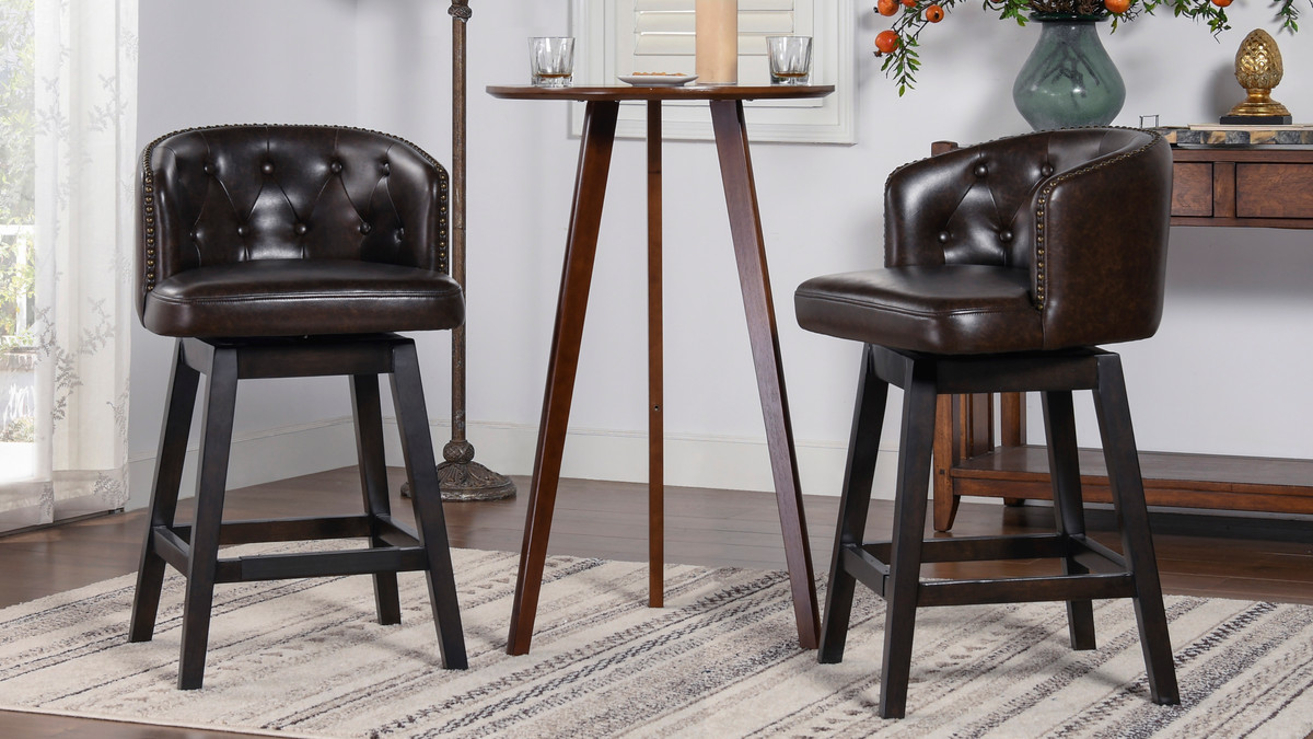 Davidson 26 Swivel Low Back Counter Height Bar Stool Vintage Brown Faux Leather Jennifer Taylor Home