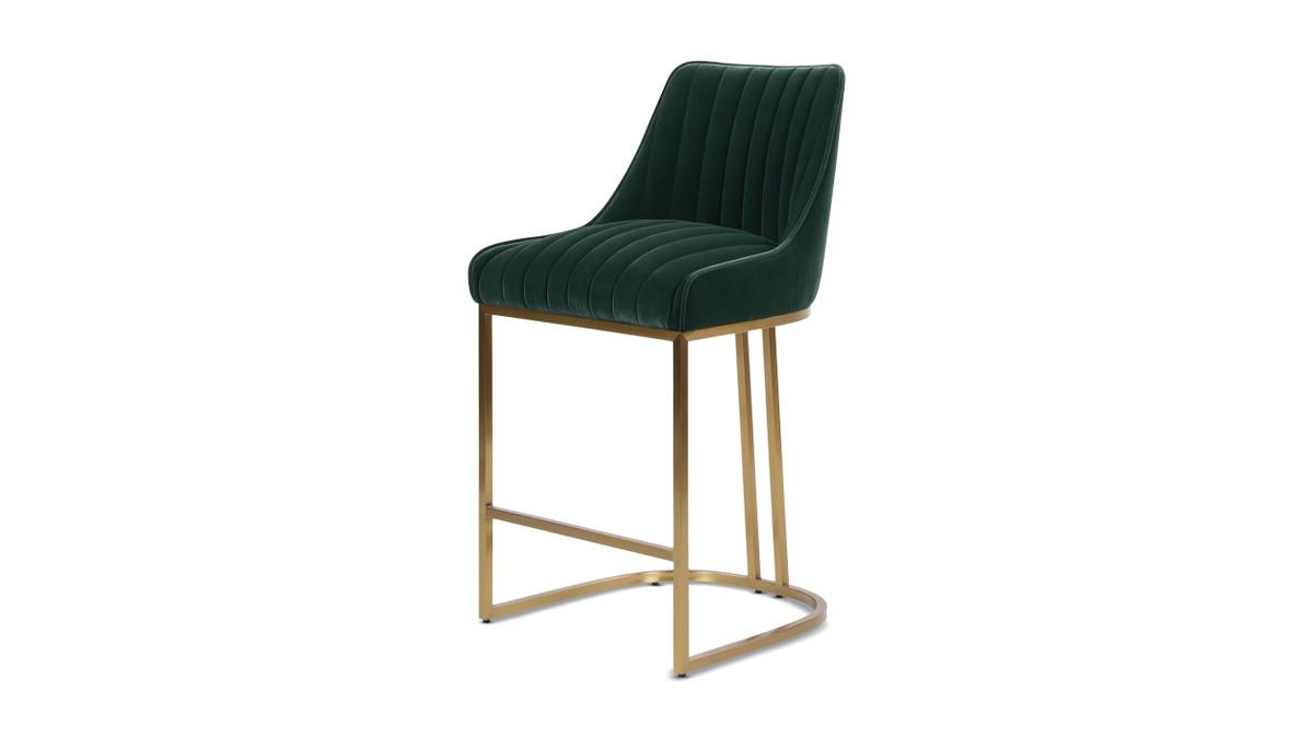 """Maddie 26"""" Modern Glam Gold Base Counter Height Bar Stool, Forest Green Velvet"""