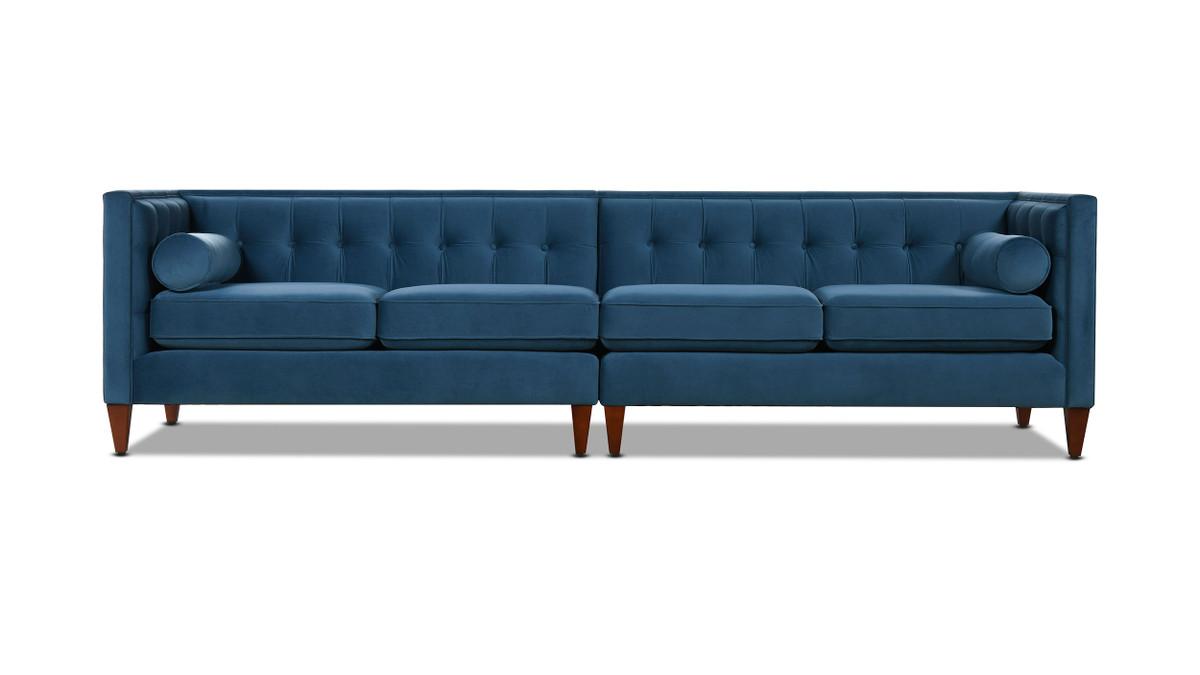 """Jack 118"""" Modern Tuxedo Tufted Long Modular Sofa, Satin Teal Velvet"""
