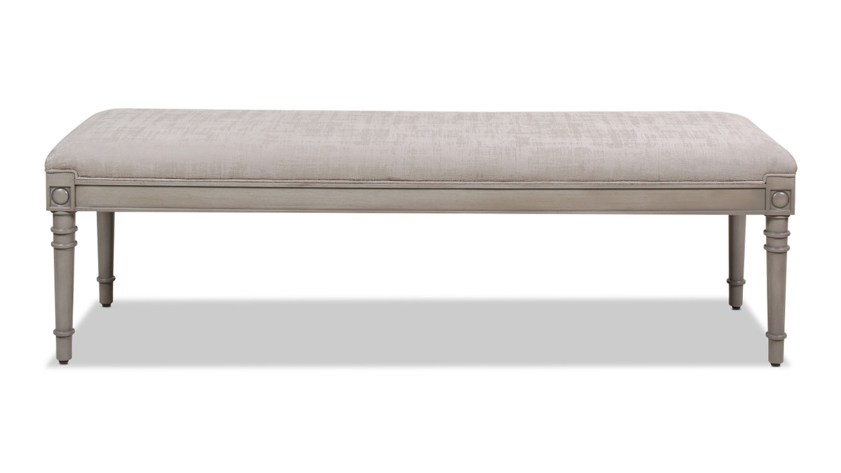 "Dauphin 60"" Upholstered Solid Birch Wood Bench, Antique Gray"