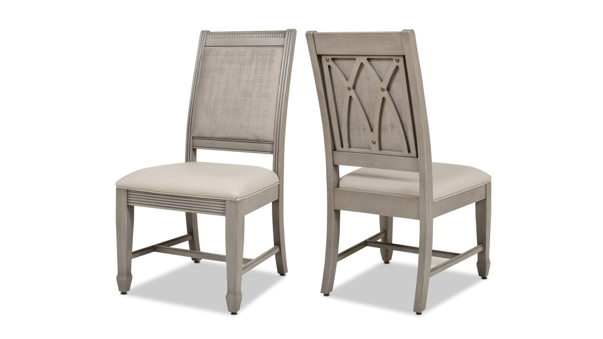 Dauphin Upholstered Dining Side Chair, Set of 2, Cream White Top Grain Leather & Cashmere Gray Wood