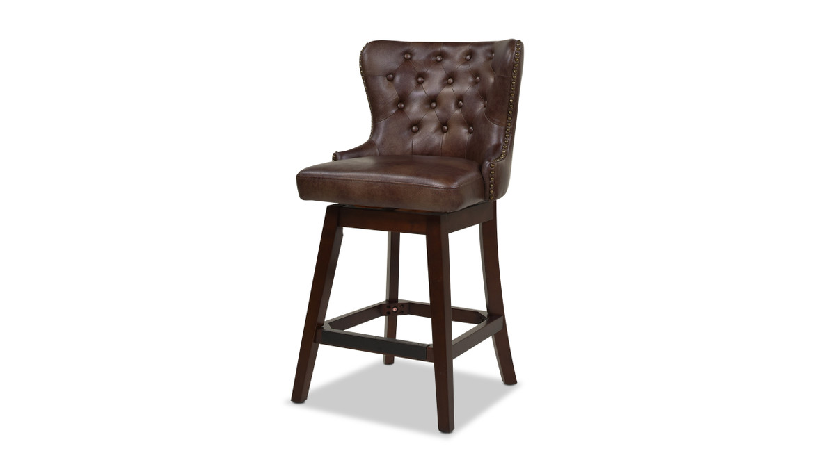 Holmes Tufted High-Back 360 Swivel Counter-Height Barstool, Mid Brown