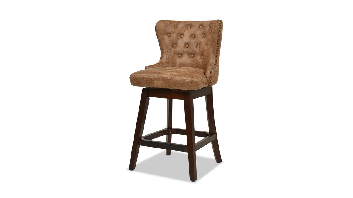 Holmes Tufted High-Back 360 Swivel Counter-Height Barstool, Tan Brown