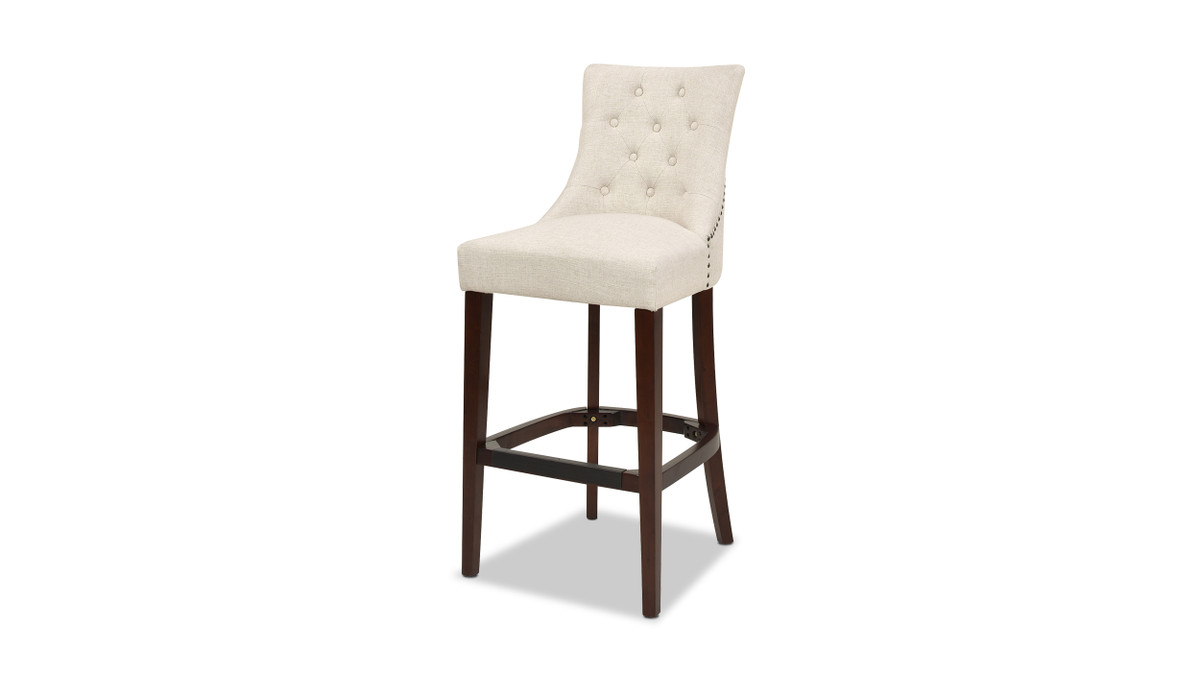 "Laura High-Back Tufted Armless 32"" Bar-Height Barstool, Coconut White"