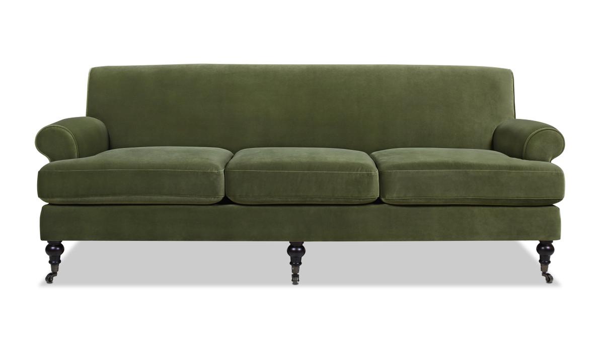 Alana Lawson Recessed Arm Sofa, Olive Green