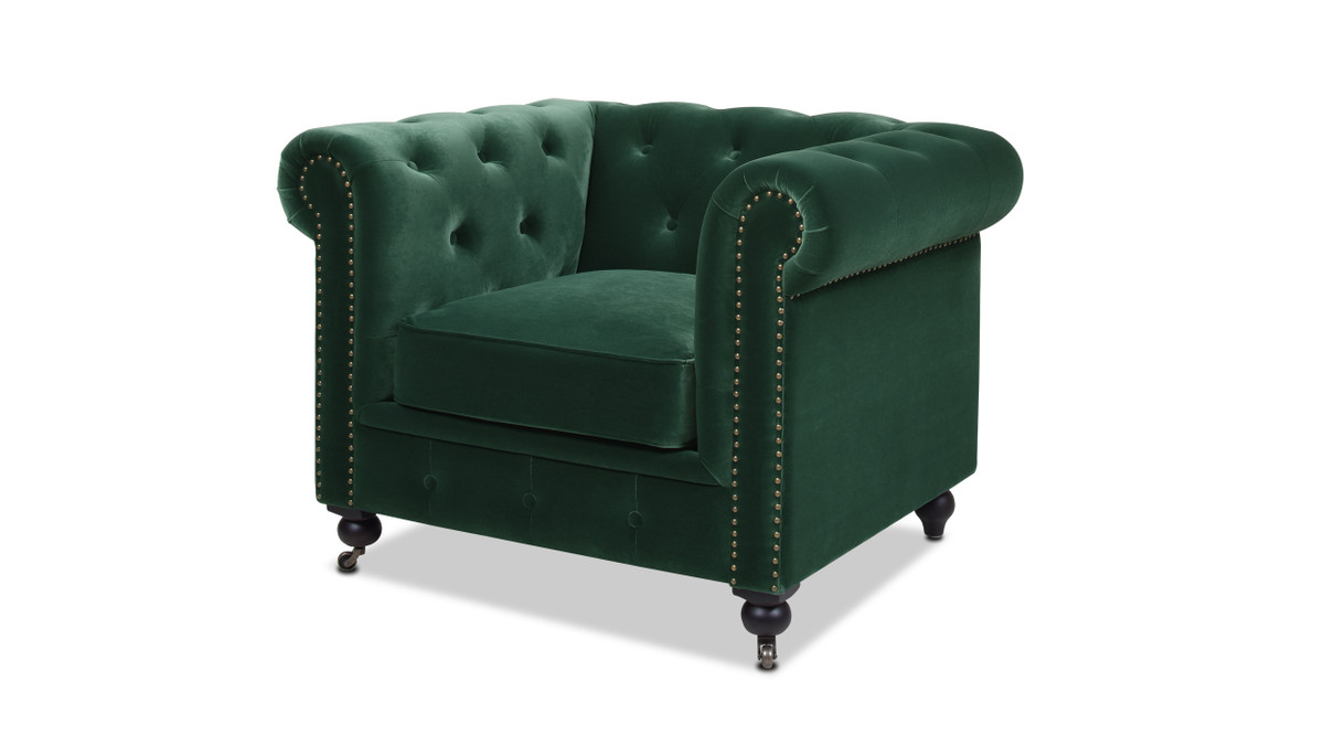 Winston Chesterfield Armchair, Forest Green