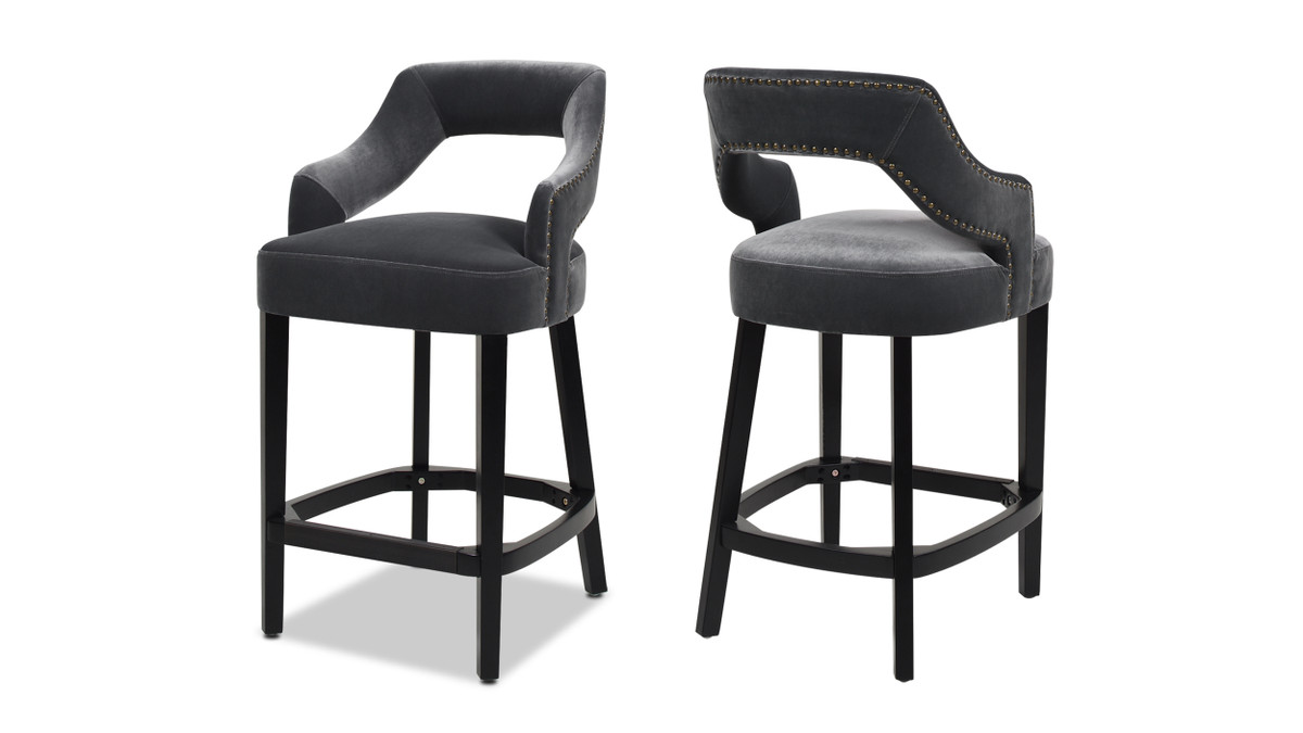 "Moderne 26"" Upholstered Bar Stool (Set of 2), Steel Gray"