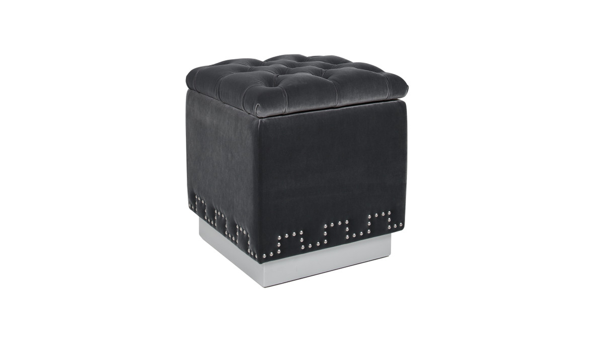 Milly Accent Storage Cube Ottoman, Steel Gray