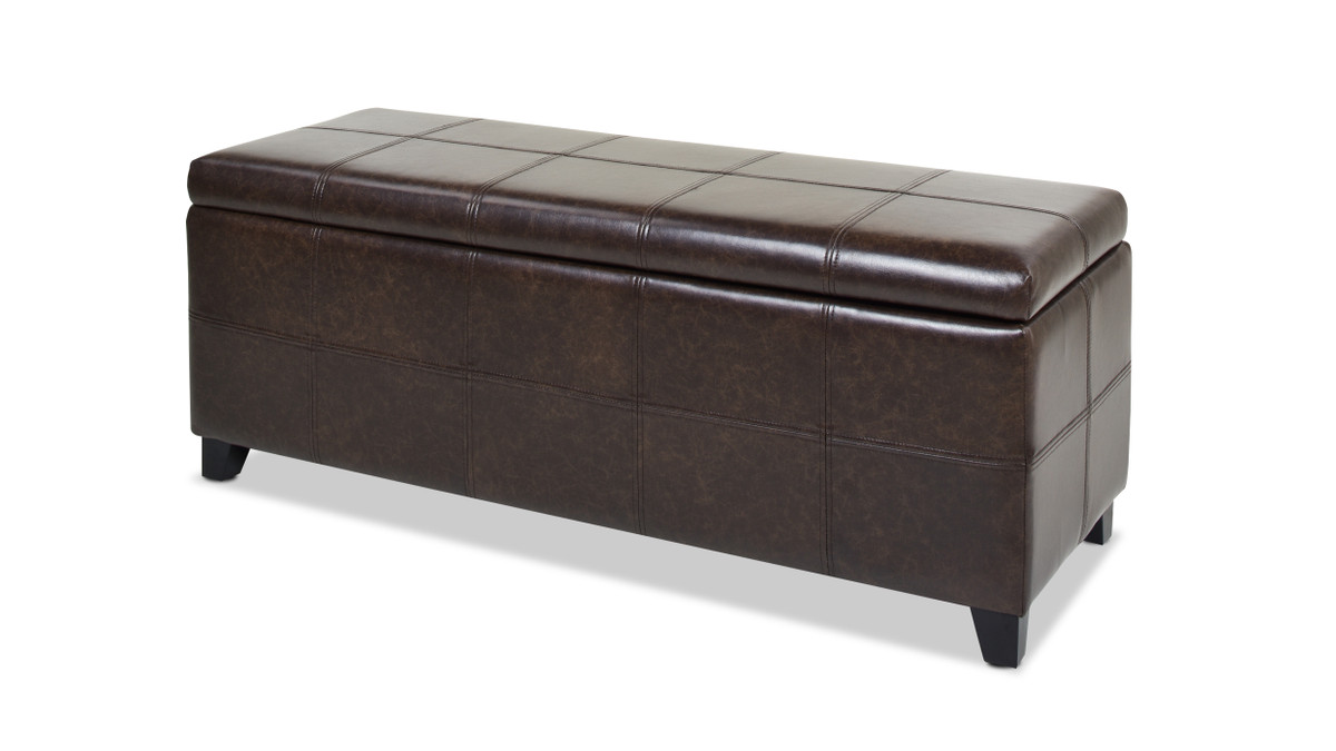 Ryan Upholstered Storage Accent Bench, Vintage Brown