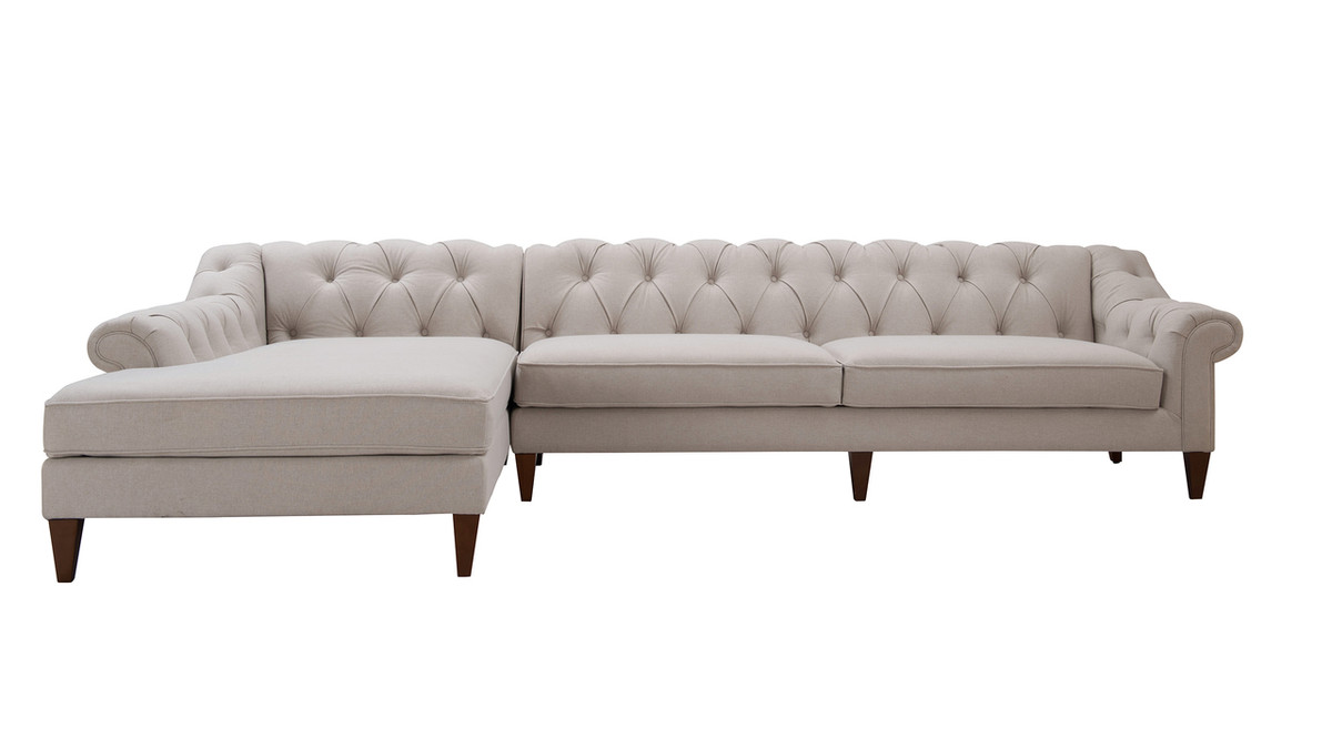 Alexandra Tufted Left Sectional Sofa, Sand Beige