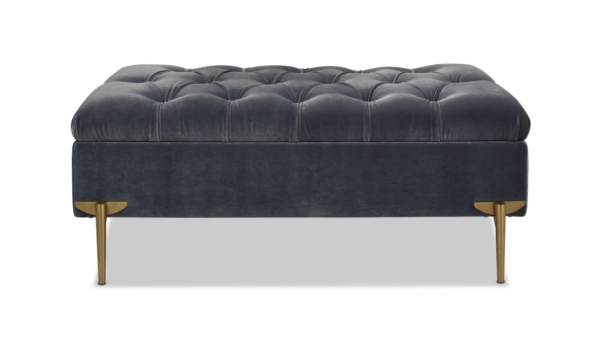 Estelle Upholstered Storage Bench Cocktail Ottoman, Steel Gray