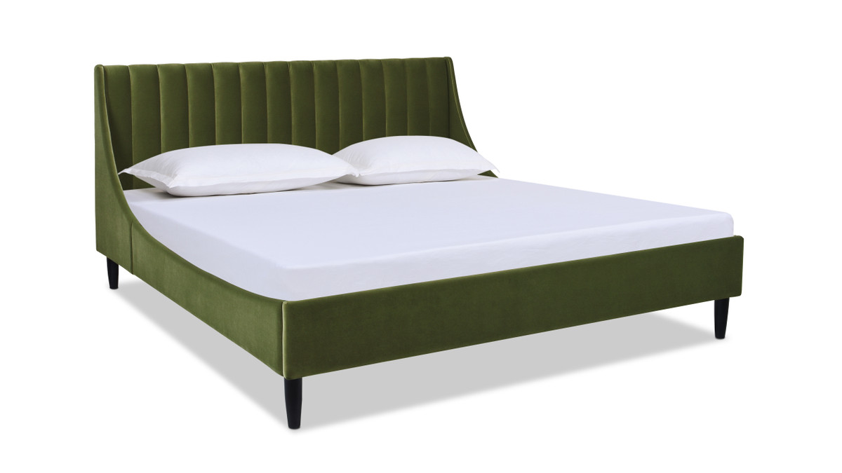 Aspen Vertical Tufted Modern Headboard Platform Bed Set, Queen, Olive Green