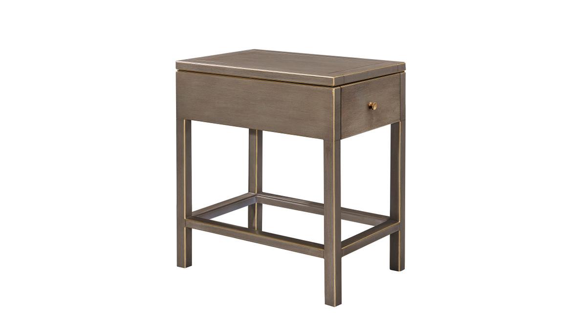 "Dauphin 22"" 1-Drawer Storage End Table, Gray Cashmere Mahogany Veneer"