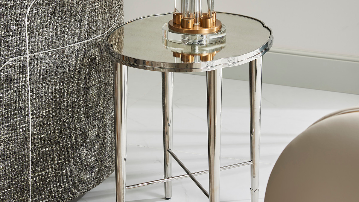 """Mithril 22"""" Scalloped Mirrored End Table, Polished Silver Stainless Steel"""
