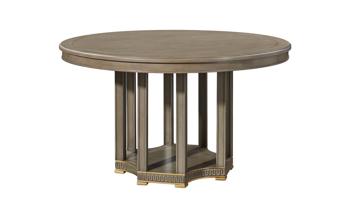 "Dauphin 59"" 6-Seat Round Dining Table, Gray Cashmere Mahogany Veneer"