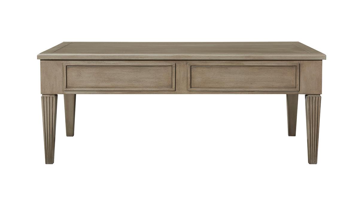 "Dauphin 49"" 2-Drawer Coffee Table, Gray Cashmere Mahogany Veneer"