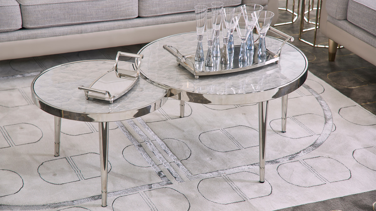 """Mithril 51"""" Abstract Round Resin Coffee Table, Polished Silver Stainless Steel"""