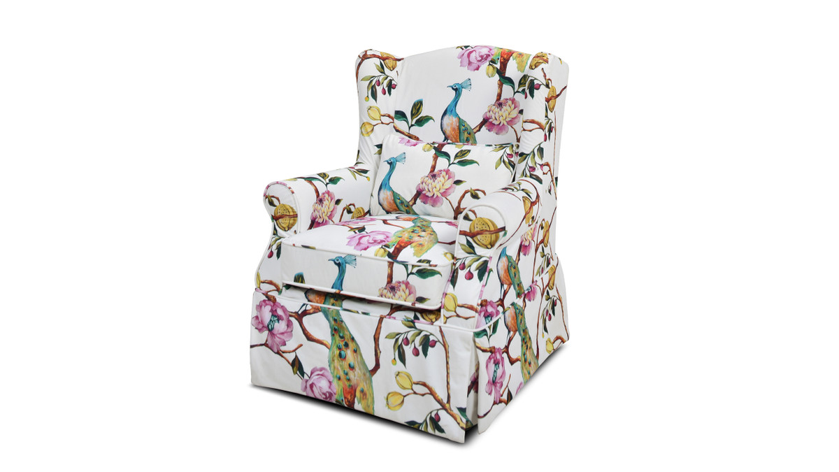 """Indie 33"""" Wingback Skirted Arm Chair, Teal Blue Peacock & Pink White Floral"""
