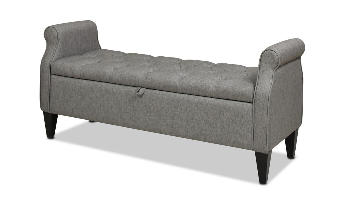 Jacqueline Flip Top Tufted Roll Arm Storage Bench,  Dark Heathered Grey