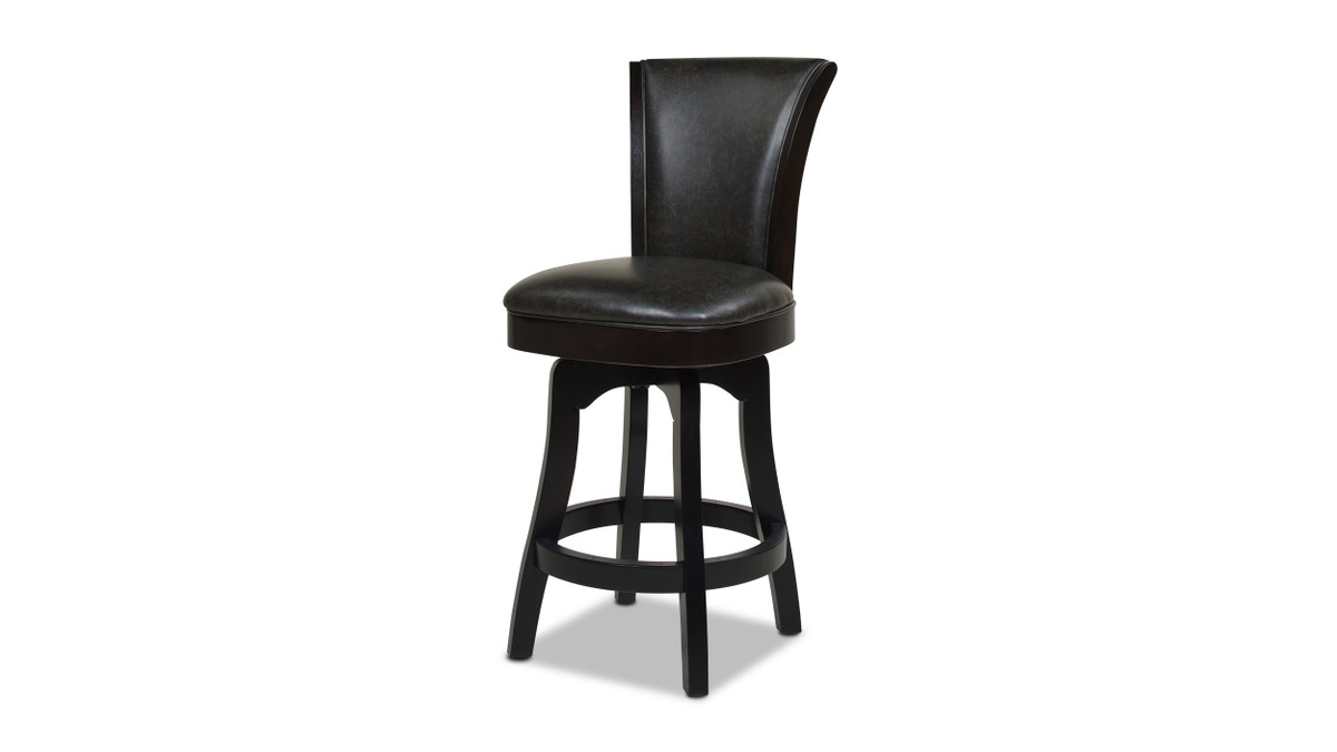 """Henry 26"""" Armless Swivel Counter Height Bar Stool, Vintage Brown Faux Leather"""