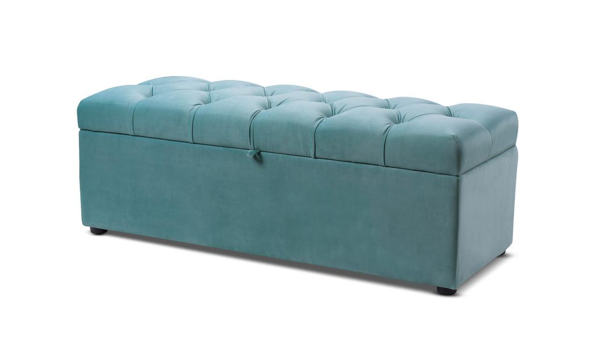 Arlo Tufted Flip Top Storage Bench, Arctic Blue