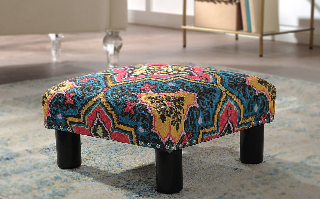 Peachy Jules Square Accent Ottoman Printed Tango Blue Alphanode Cool Chair Designs And Ideas Alphanodeonline