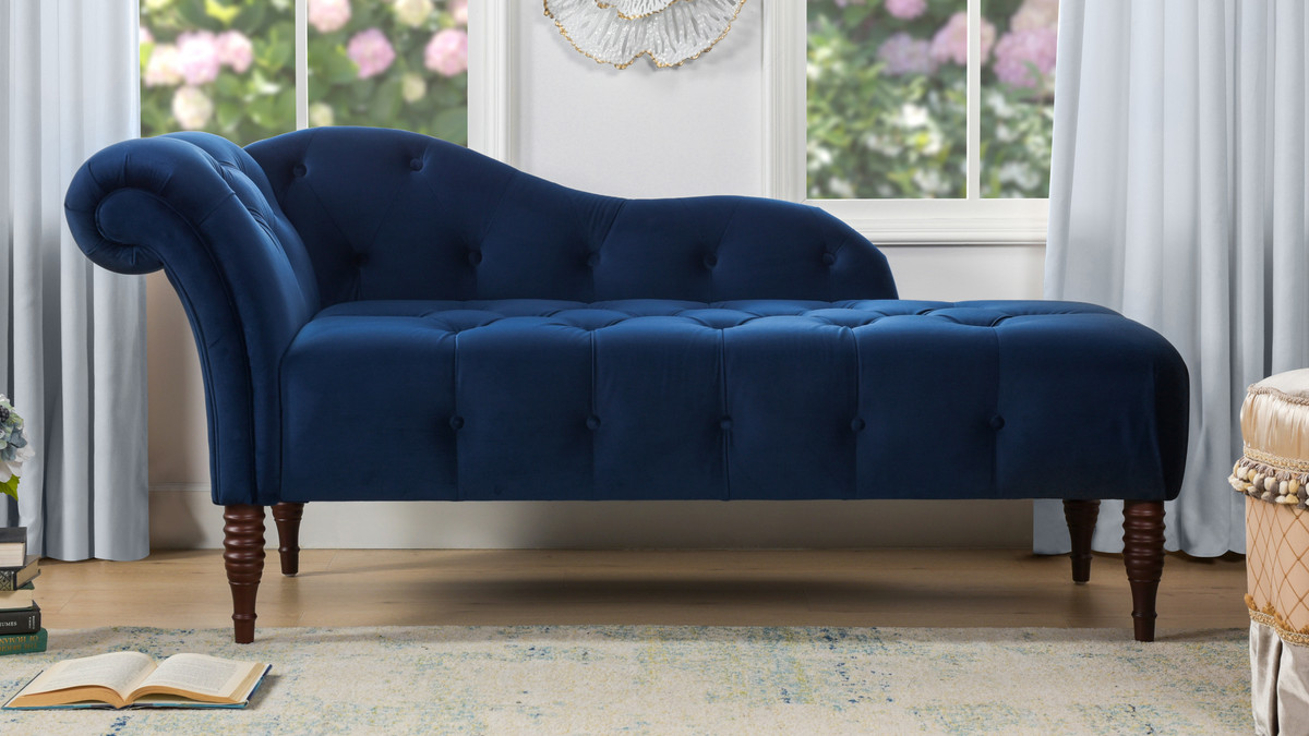 Samuel Tufted Chaise Lounge, Right Arm Facing, Navy Blue ...