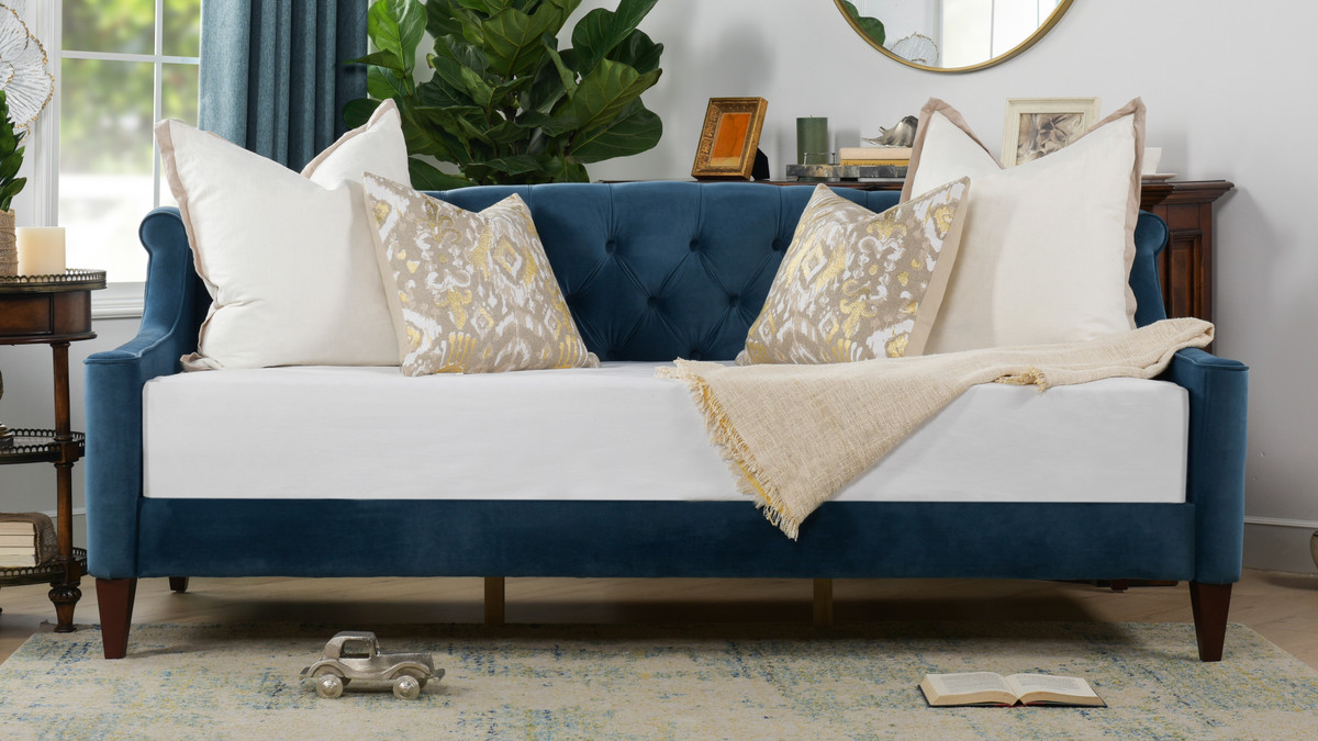 Tremendous Lucy Sofa Bed Satin Teal Machost Co Dining Chair Design Ideas Machostcouk