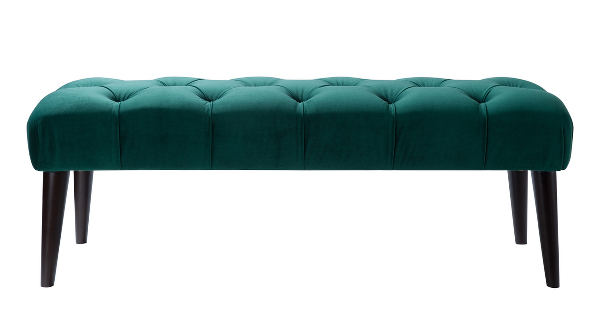 Quinn Tufted Entryway Bench, Ever Green