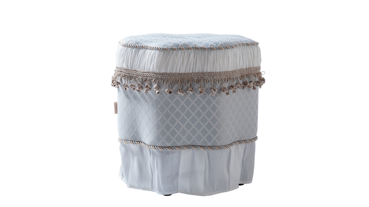 Eleanor Decorative Ottoman, Teal Tan