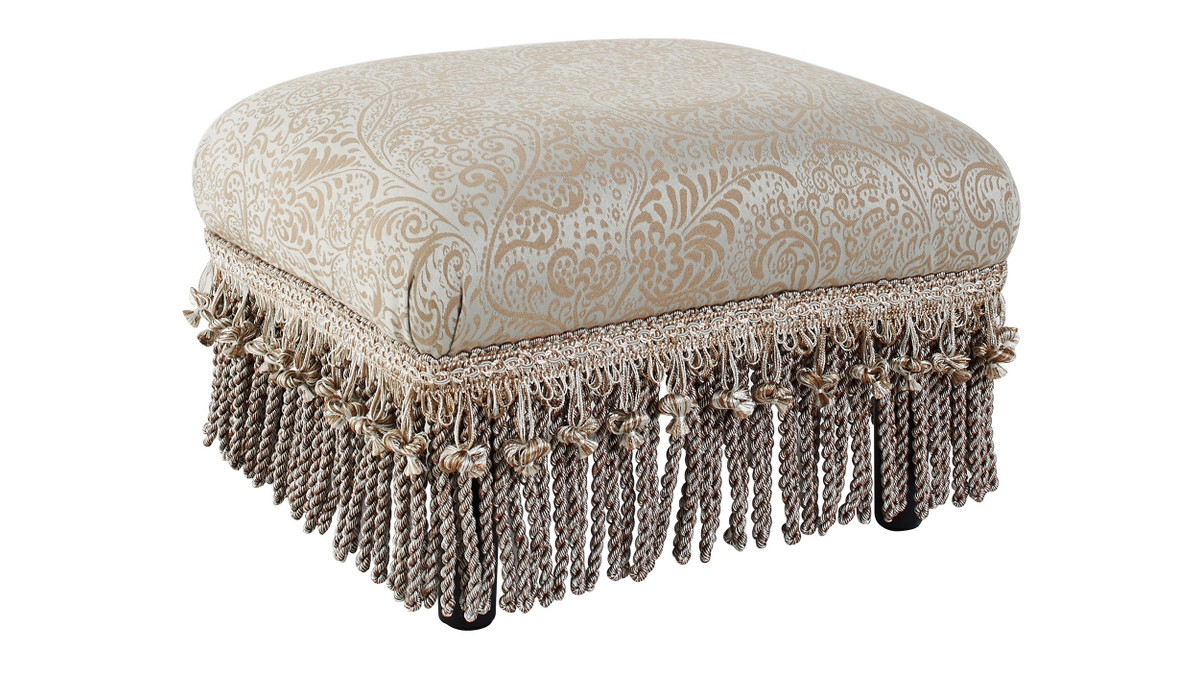 Fiona Traditional Decorative Footstool, Paisley Teal Tan