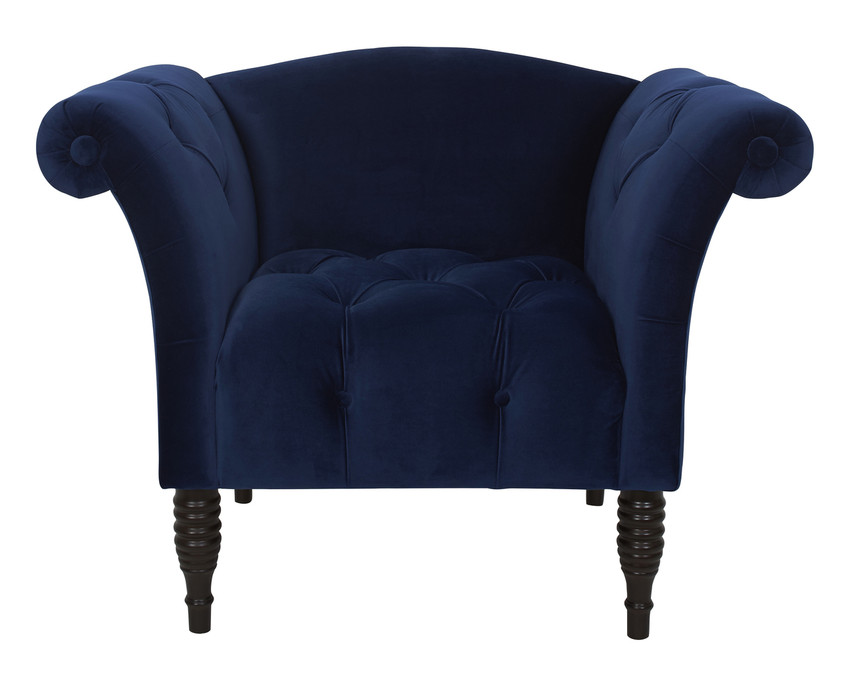 Danica Roll Arm Accent Chair Navy Blue Jennifer Taylor Home