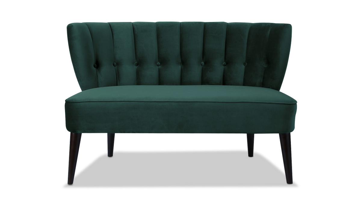 Becca Tufted Channel Back Settee, Hunter Green