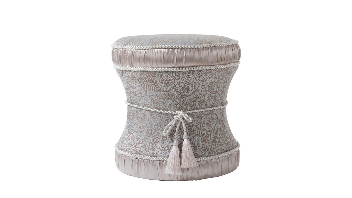 Leona Decorative Vanity Stool, Jacquard, Teal Tan