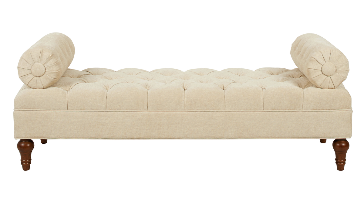 Lewis Bolstered Lounge Entryway Bench, Parchment